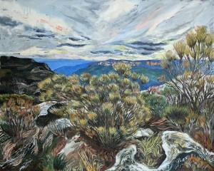 RACHEL HANNAN Post Fire Windy Lincoln Rock 2016, oil on canvas, 122 x 152 cm